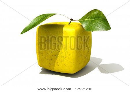 3D rendering of a cubic golden apple