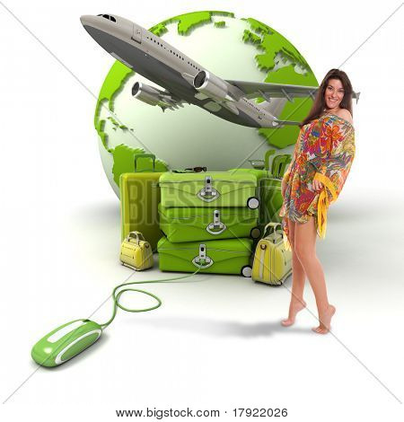 Composition with a girl in summer attire, a pile of luggage, a plane taking off and the world map, connected to a computer mouse