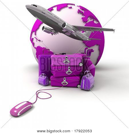 The Earth, a plane taking off, a pile of luggage including suitcases, briefcases, golf bag, connected to a computer mouse in purple and pink shades