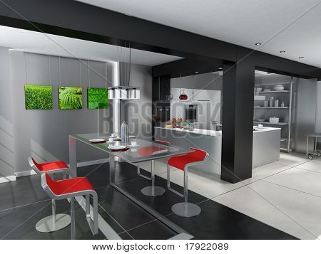 3D rendering of a modern kitchen with an attached dinning room