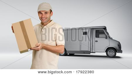 Messenger delivering a parcel with a delivery back in the background