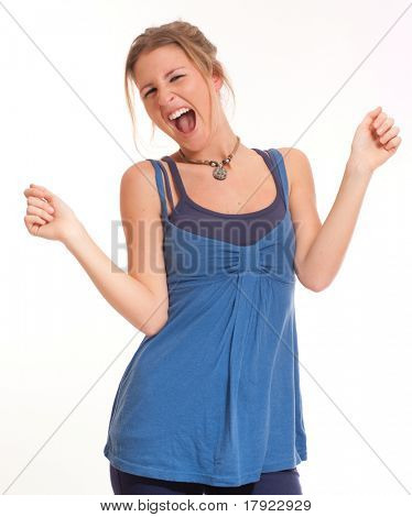 Isolated portrait of a extremely pleased young girl