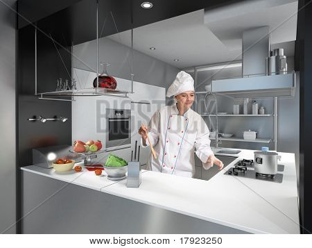 Mujer joven con uniforme de cocineros y toque en una cocina industrial