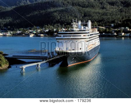 Cruise Ship Docked In Juneau, Alaska Harbor