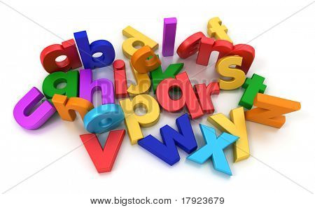 Plastic multicoloured Alphabet on a neutral background