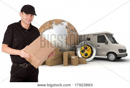 Messenger with a background composed of  a world map, packages, a chronometer and a van