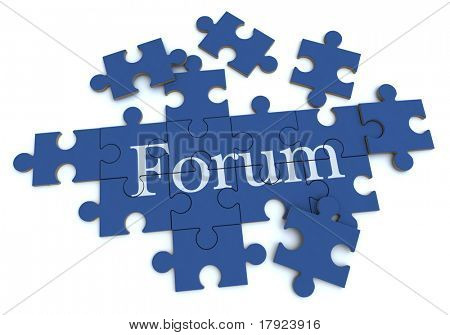 3D rendering of a forming puzzle with the word Forum