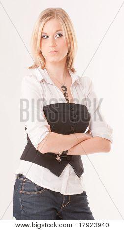 Cute blonde girl looking with suspicion