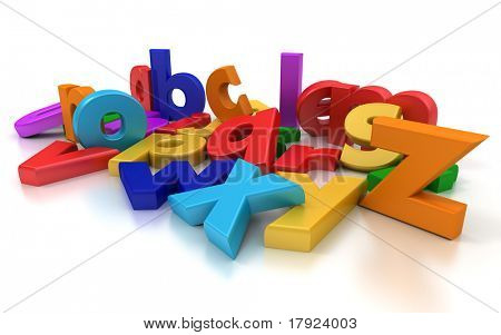 Plastic multicoloured Alphabet on a neutral background
