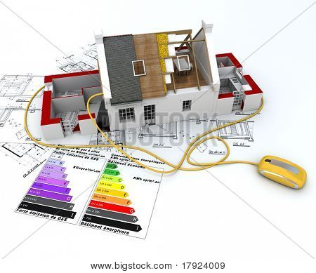 3D rendering of a house in construction, connected to a computer mouse, on top of blueprints, with and energy efficiency rating chart