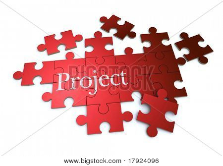 3D rendering of a forming puzzle with the word Project