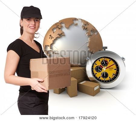 Isolated image of a female messenger delivering a parcel with a world map, packages and a chronometer as a background