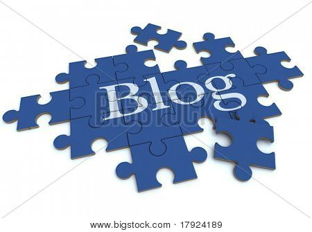 3D rendering of a forming puzzle with the word Blog