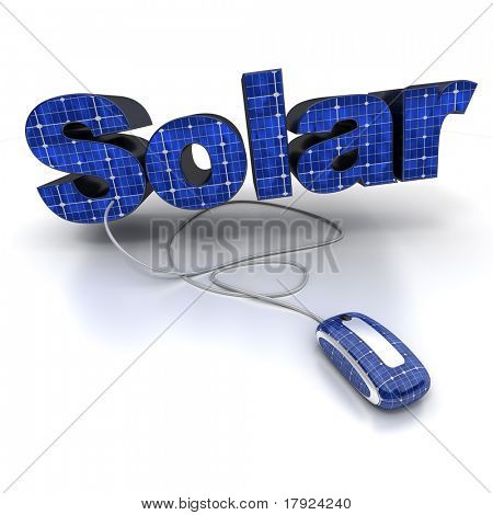 3D rendering of the word solar with solar-panel texture connected to a computer mouse