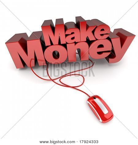3D rendering of the words Make Money connected to a computer mouse