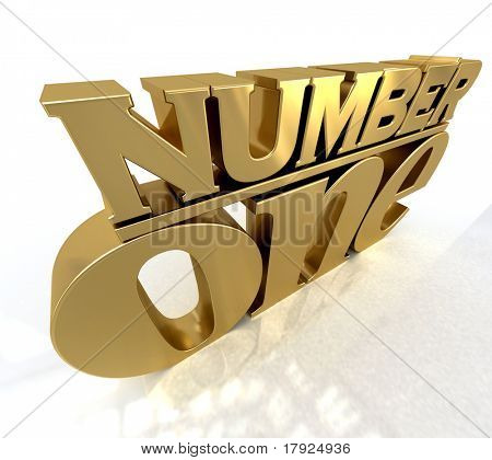 3D rendering of the words number one in gold