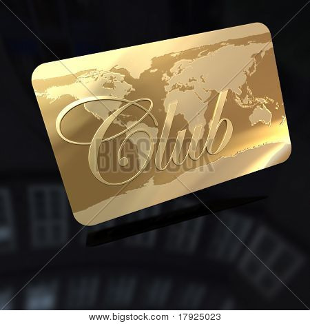 3D rendering of a golden card with the word club and a world map engraved on it