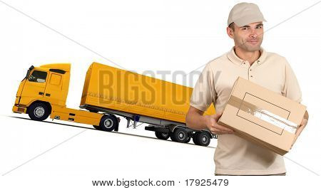 Isolated image of a messenger delivering a box with a trailer truck in the background