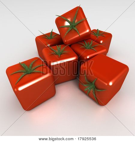 3D rendering of a group of cubic tomatoes