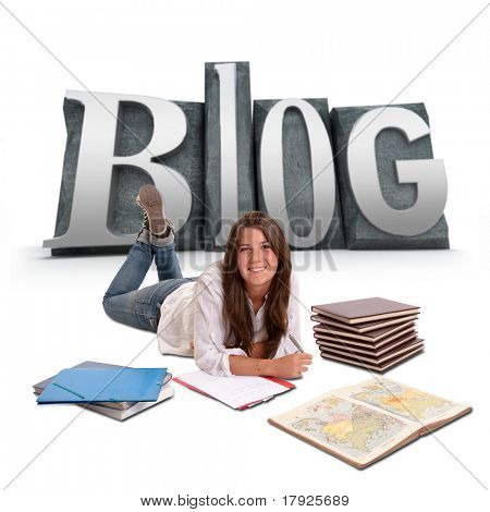Isolated image of a Young girl studying lying on the floor with BLOG written on the background