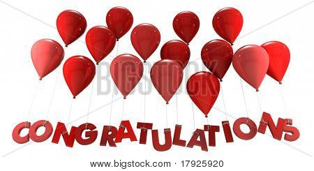 3D rendering of a group of balloons with the word congratulations hanging from the strings in red shades