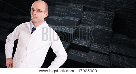 Man with a lab coat and a tie with a background of mathematical formulae