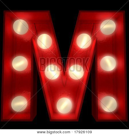 3D rendering of a glowing letter M ideal for show business signs