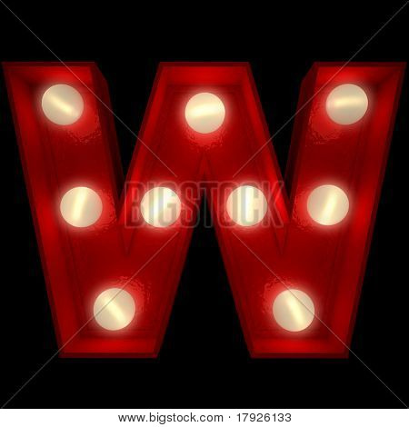 3D rendering of a glowing letter W ideal for show business signs