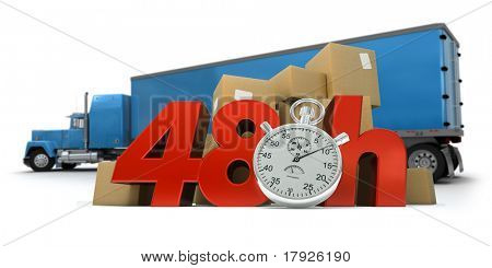 3D rendering of  a pile of packages  and a truck with the words 48 Hrs and a chronometer