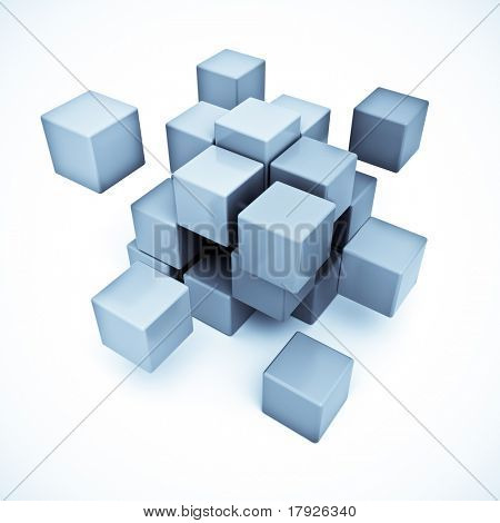 3D rendering of a cubic background in blue shades