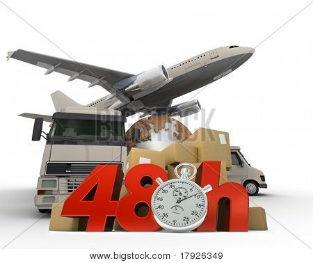 3D rendering of  a world map, packages a van, a truck and an airplane with the words 48 Hrs and a chronometer
