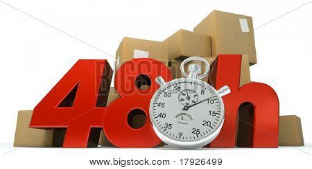 3D rendering of  a pile of boxes with the words 48 Hrs and a chronometer