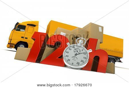 3D rendering of  a pile of packages  and a truck with the words 12 Hrs and a chronometer