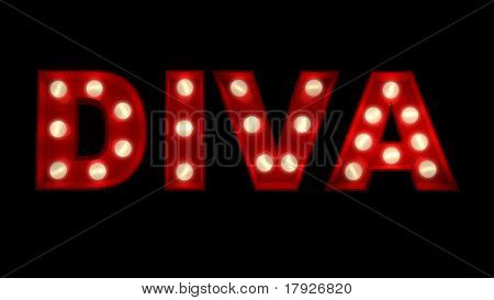 3D rendering of the word Diva written in glowing letters