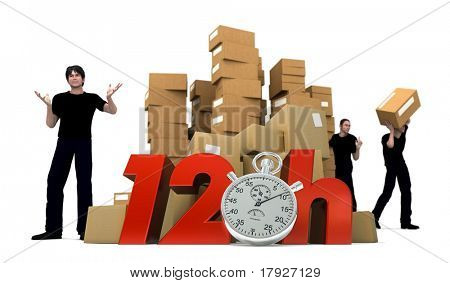 3D rendering of piles of cardboard boxes and three workers with the words 12 Hrs and a Chronometer