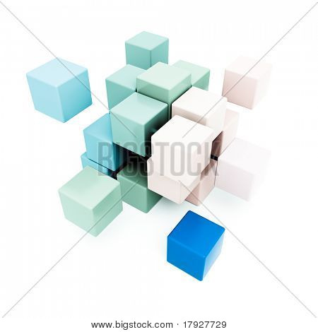 3D rendering of a cubic background in pastel shades