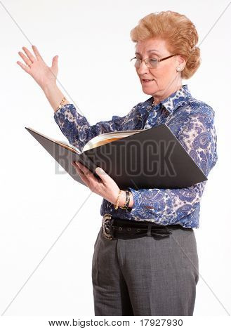 Elegant senior lady reading aloud