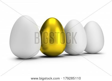 Golden egg among ordinary eggs. 3d image. Isolated white background.