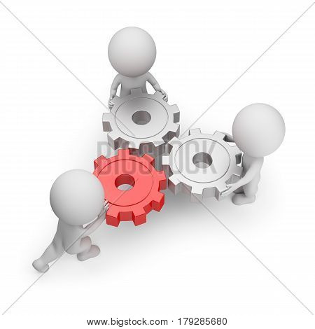 3d small people - main gear. 3d image. White background.
