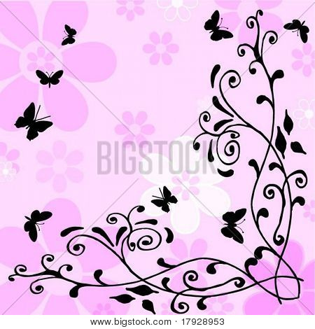 Flowers and butterflies - vector image