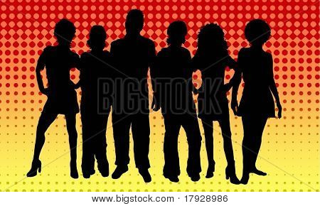 Group of young people on retro background - vector