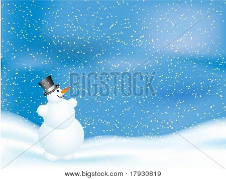 snowman on snowy night