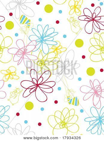 Vector Floral Pattern and Cute Fairy (seamless)
