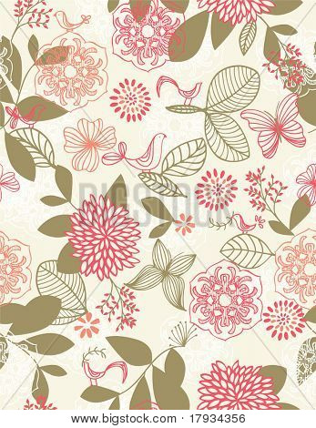 Vector retro botanical garden seamless pattern