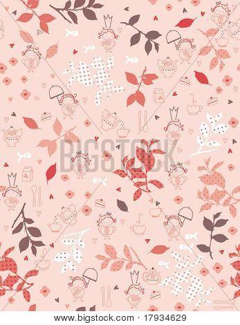 Vector Tea Garden (seamless pattern)