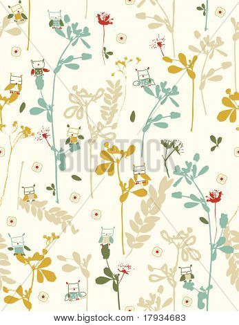 Vector Garden with birds (Seamless Pattern)
