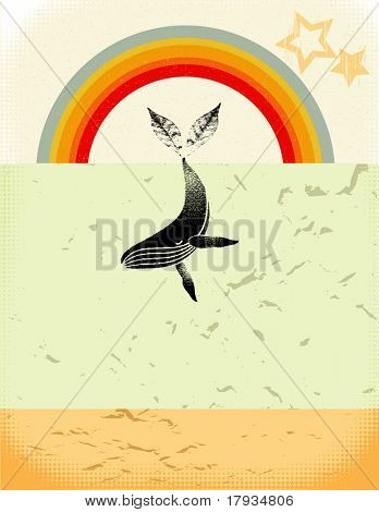 "Vector Poster ""Let's save whales, trees and stars"""