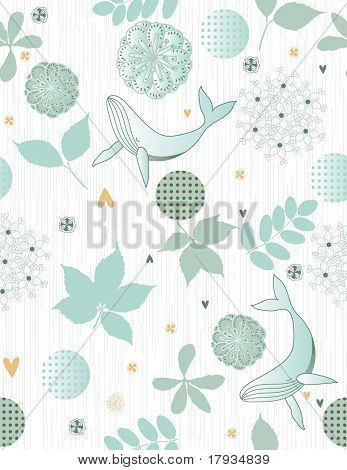 Vector Floral Pattern with cute whale (Seamless Pattern)