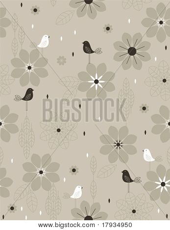 Vector Little Retro Bird (Seamless Pattern)