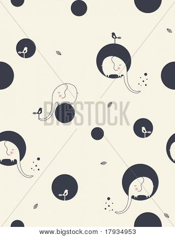 Vector Shy Elephant (Seamless Pattern)